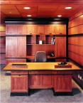 Office, modern, desk, paneling, cabinetry